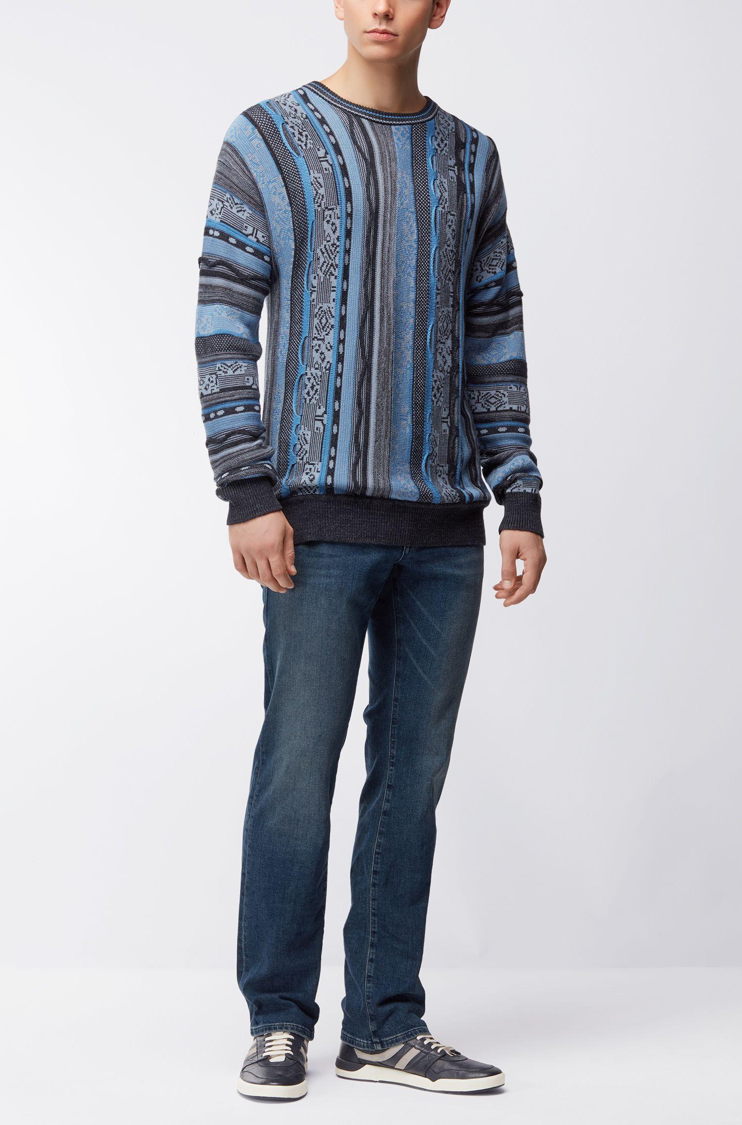 Strukturierter Pullover aus Baumwoll-Mix mit Seide