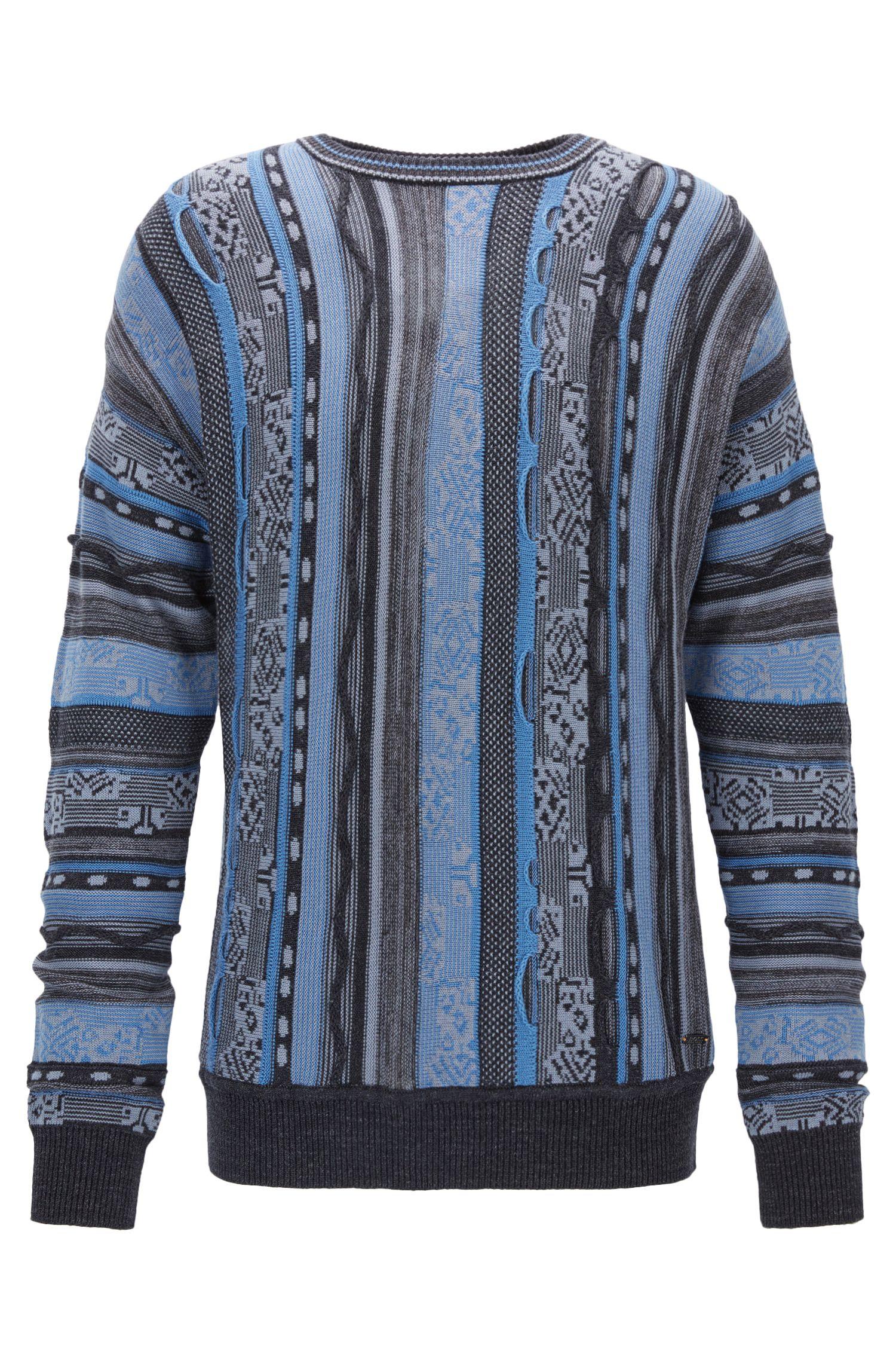 Jersey en mezcla de algodón con rayas con textura