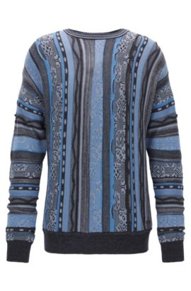 Cotton-blend sweater with structured stripes, Patterned
