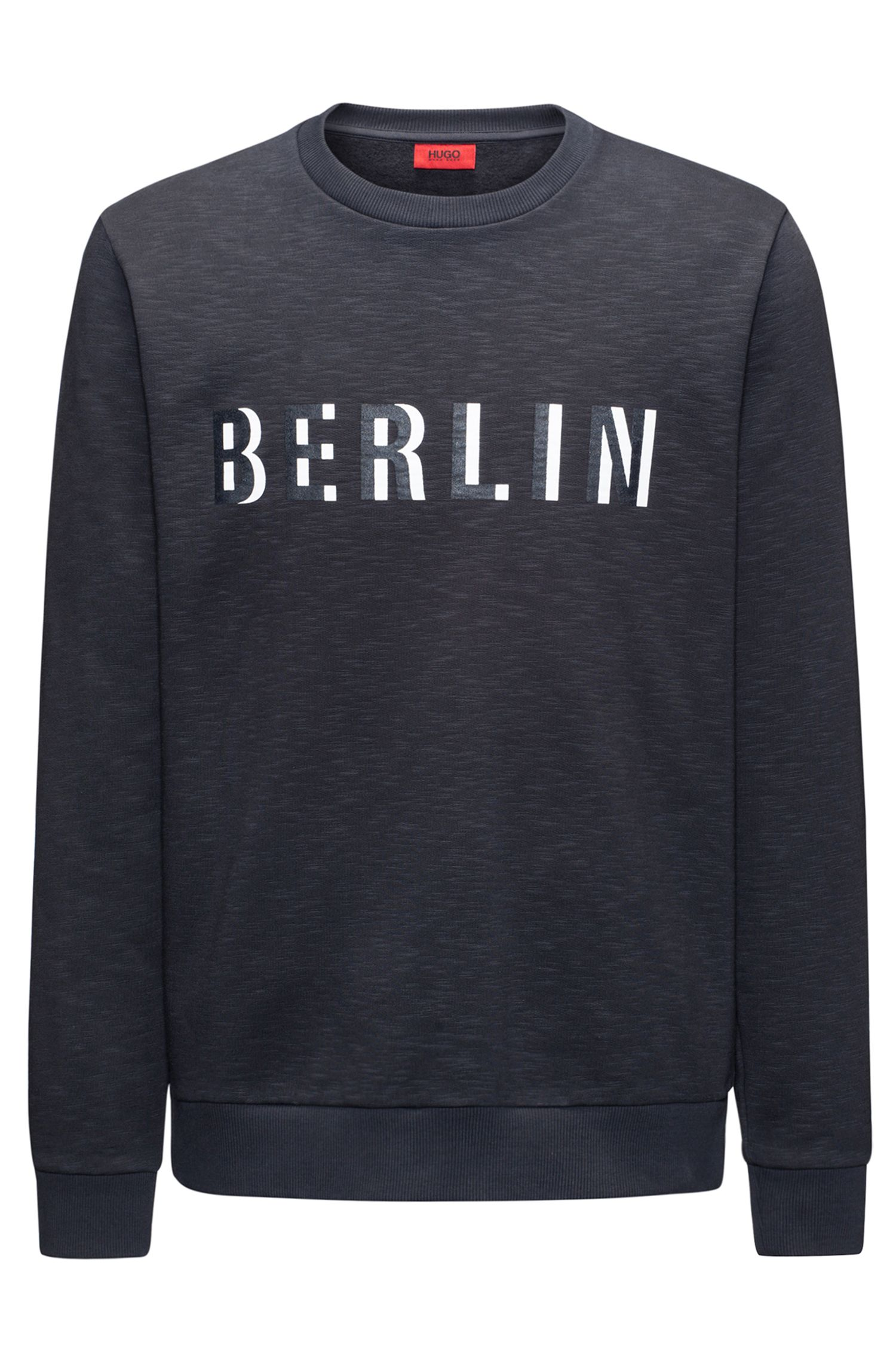 Crew-neck slogan sweatshirt in slub French terry