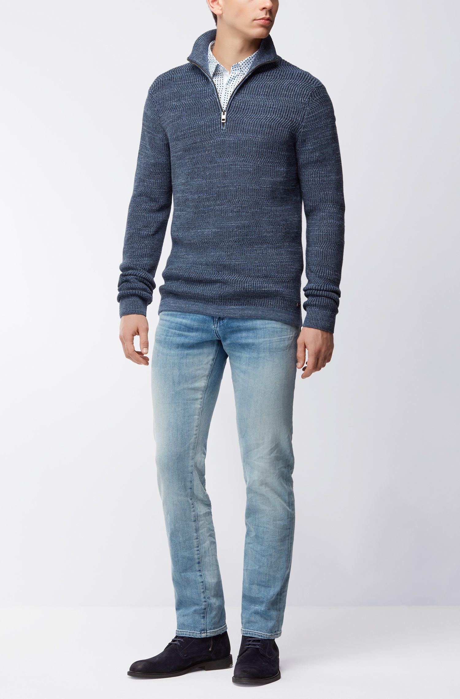 Jersey en algodón con punto de canalé moderno y cremallera en el cuello