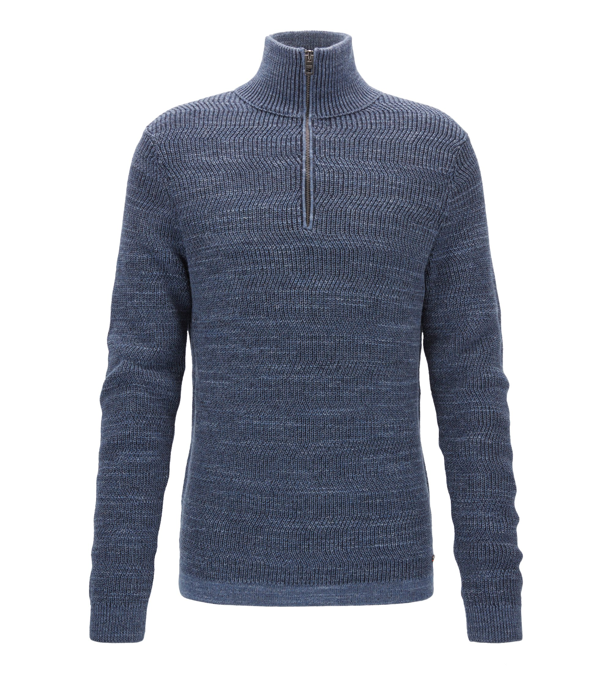 Zip-neck sweater in modern ribbed-knit cotton, Dark Blue