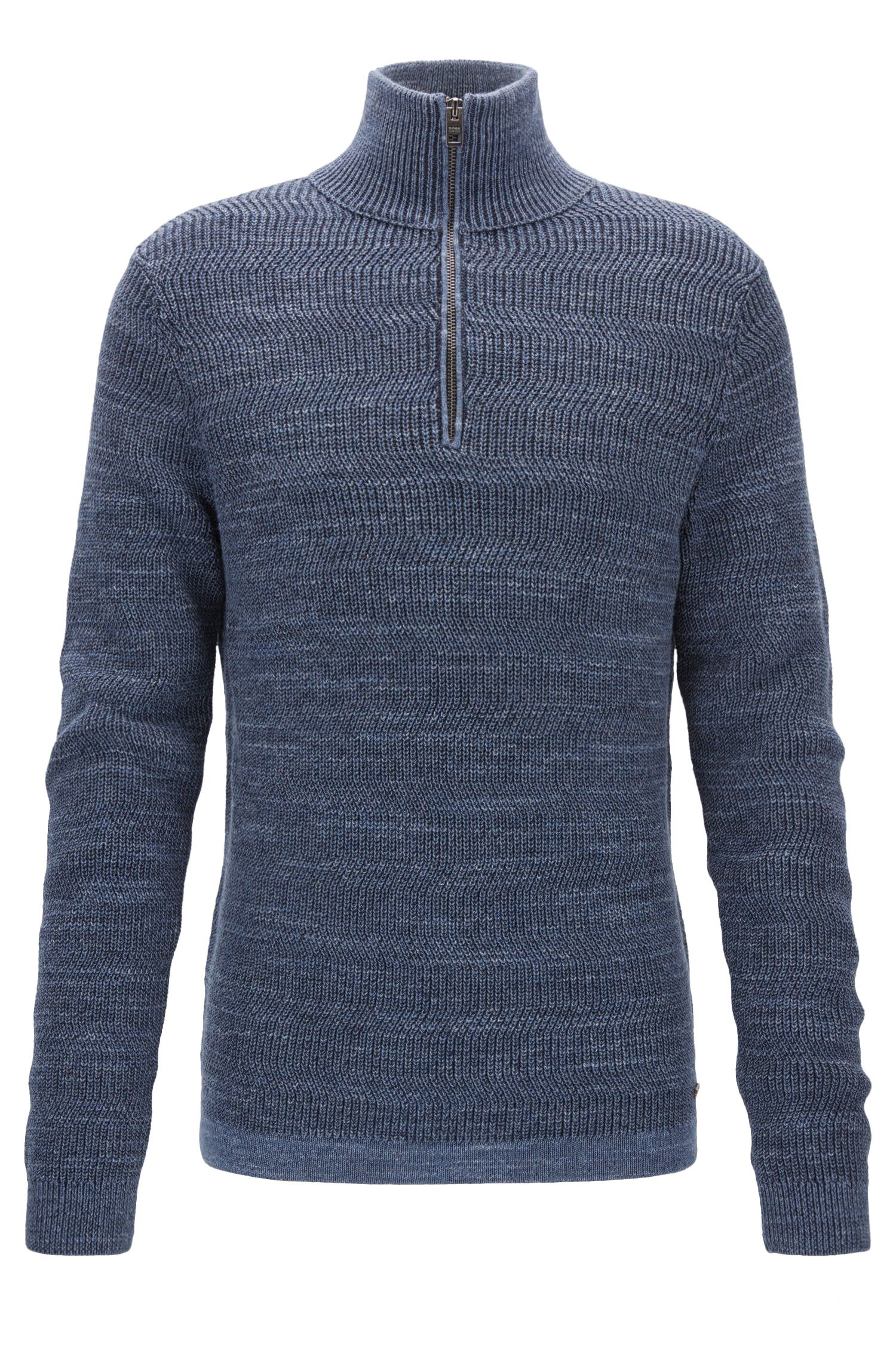 Zip-neck sweater in modern ribbed-knit cotton
