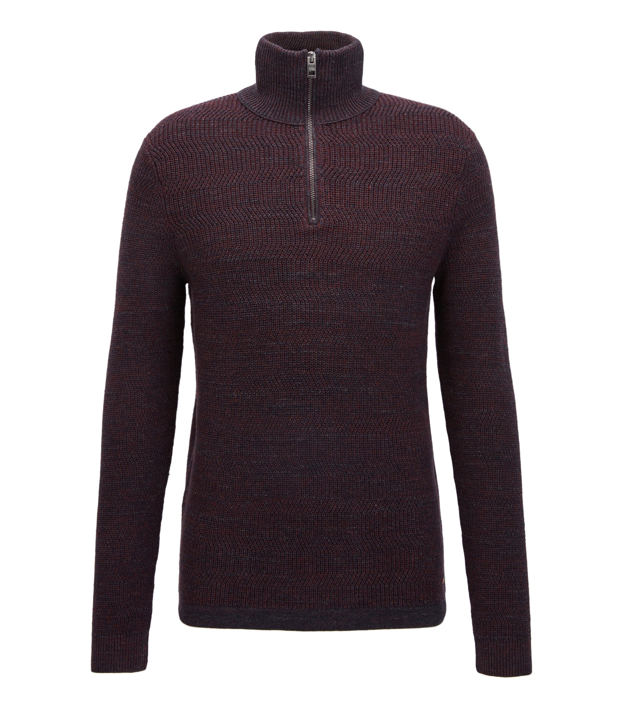 Zip-neck sweater in modern ribbed-knit cotton, Dark Red