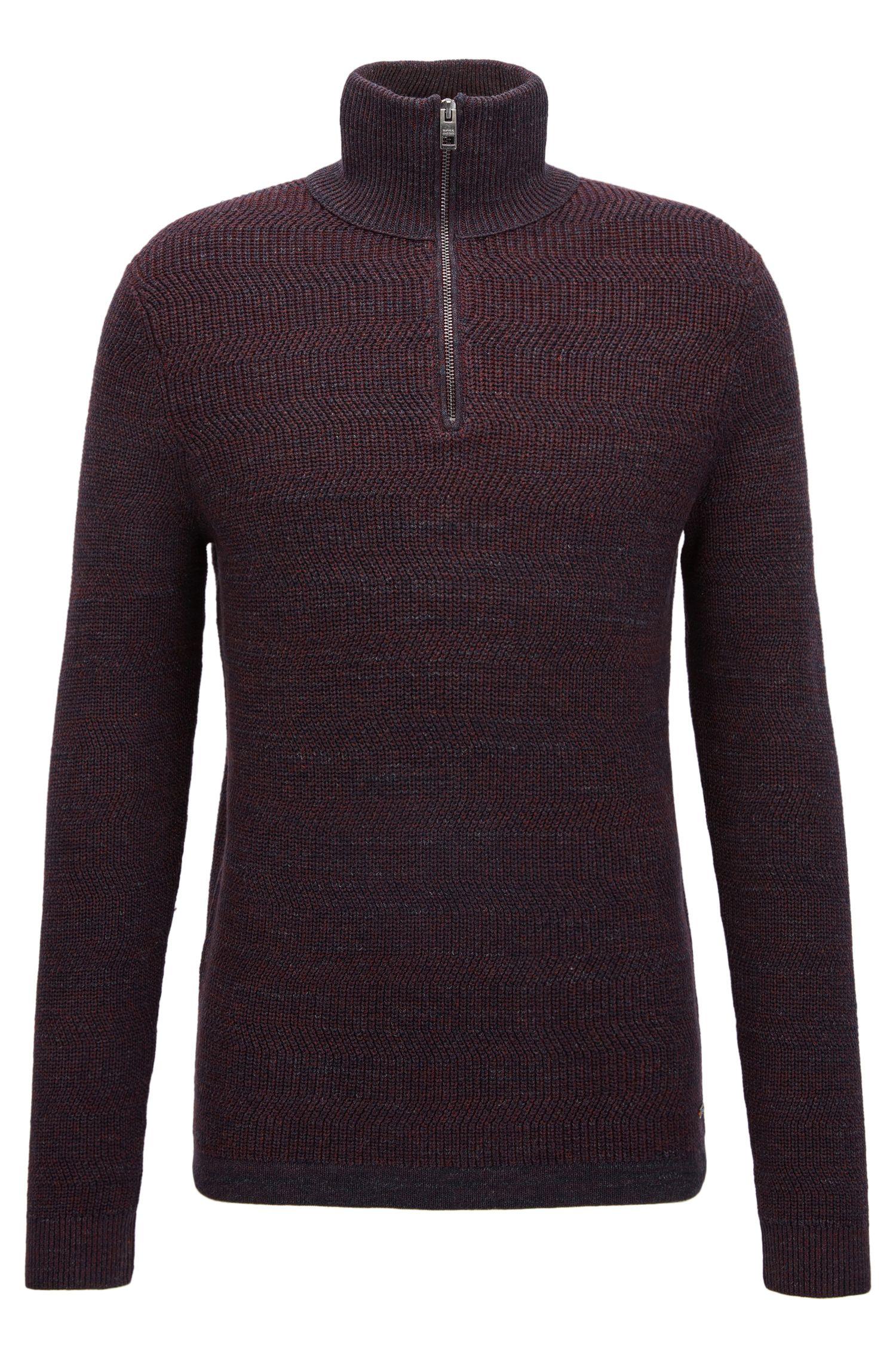 Pull à col zippé en coton, à maille côtelée moderne