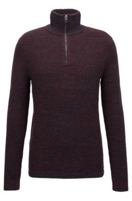 Zip-neck sweater in modern ribbed-knit cotton, Dark Red