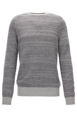 Bouclé cotton-blend crew neck sweater  , Light Grey