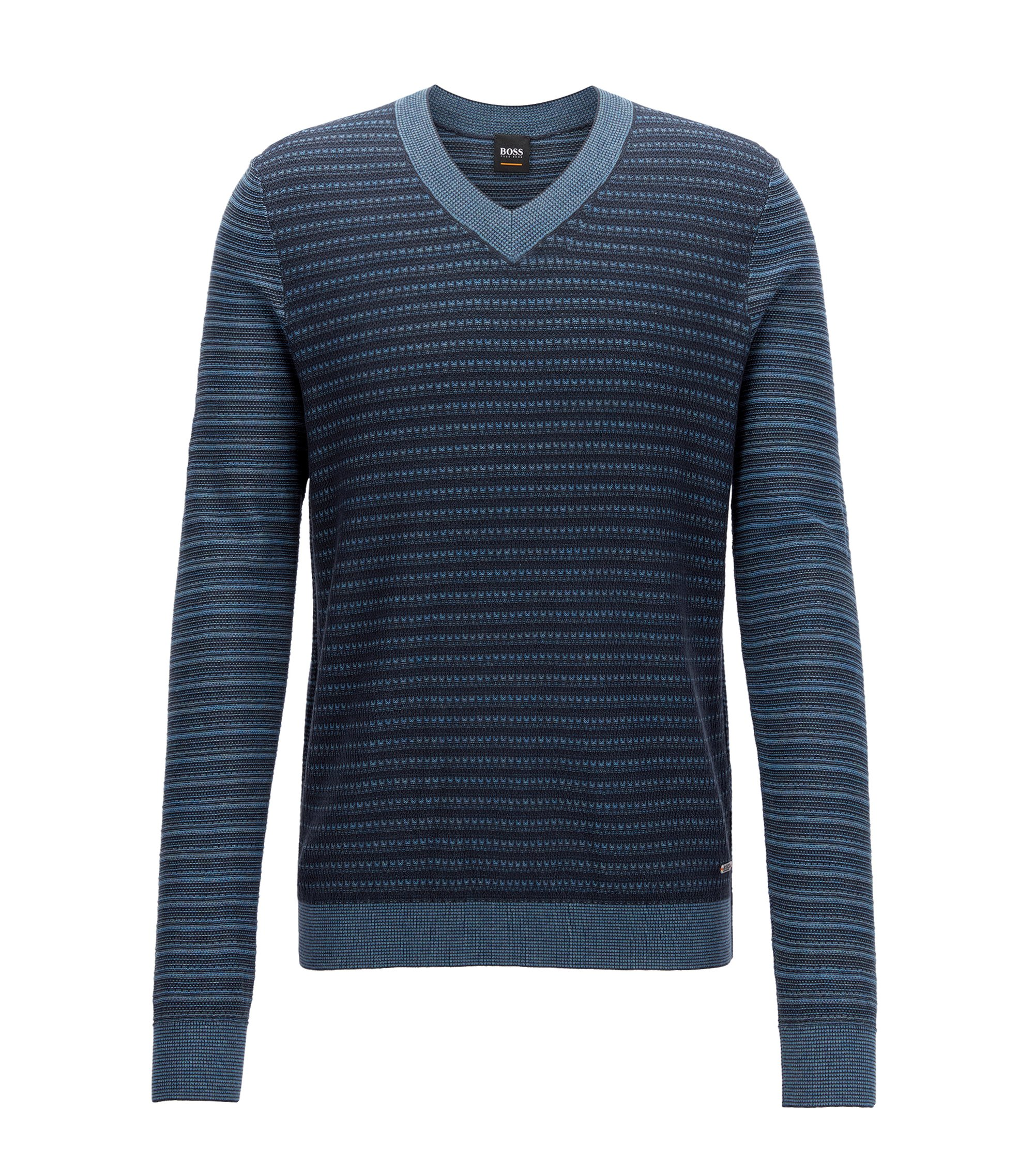 Cotton-blend V-neck sweater in multi-tonal 3D structures, Dark Blue