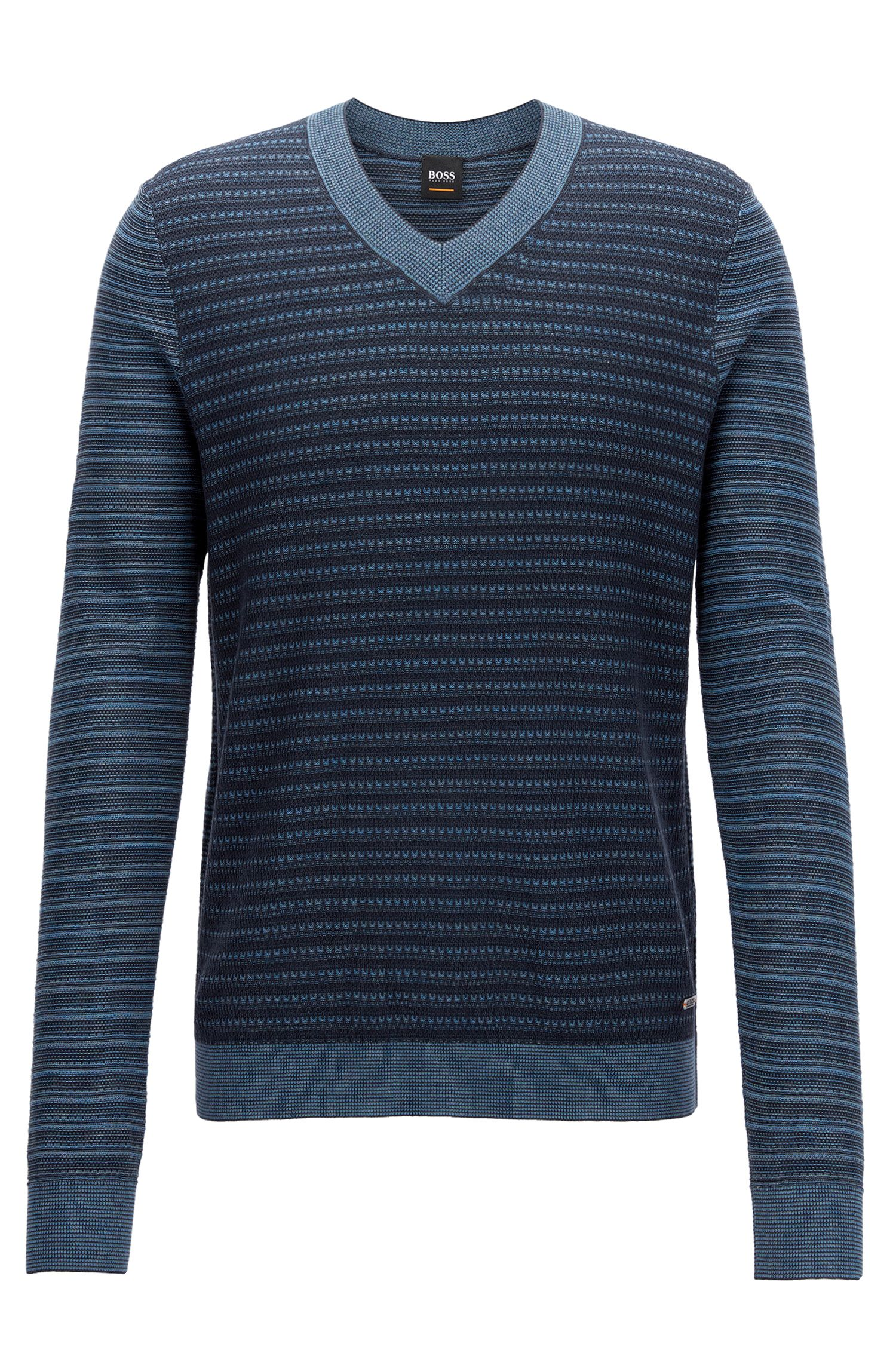 Cotton-blend V-neck sweater in multi-tonal 3D structures