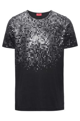 Regular-fit T-shirt in foil-print cotton, Black
