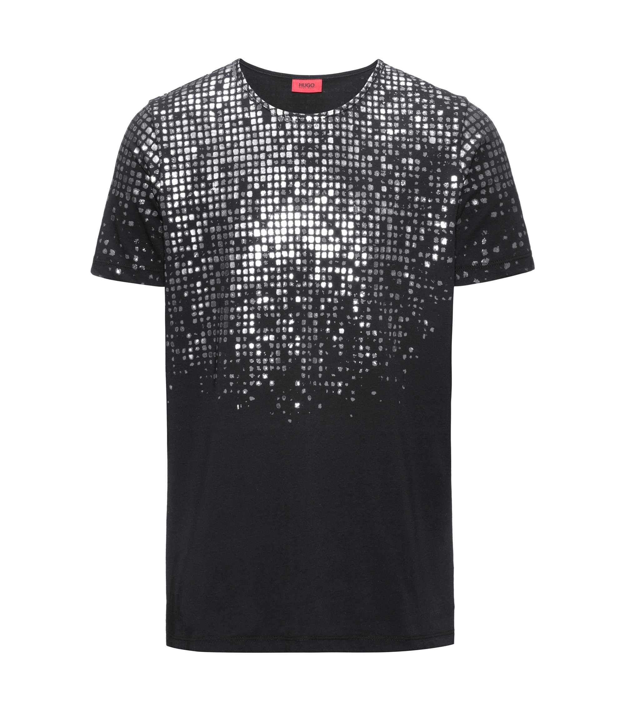 Regular-fit T-shirt van katoen met folieprint, Zwart