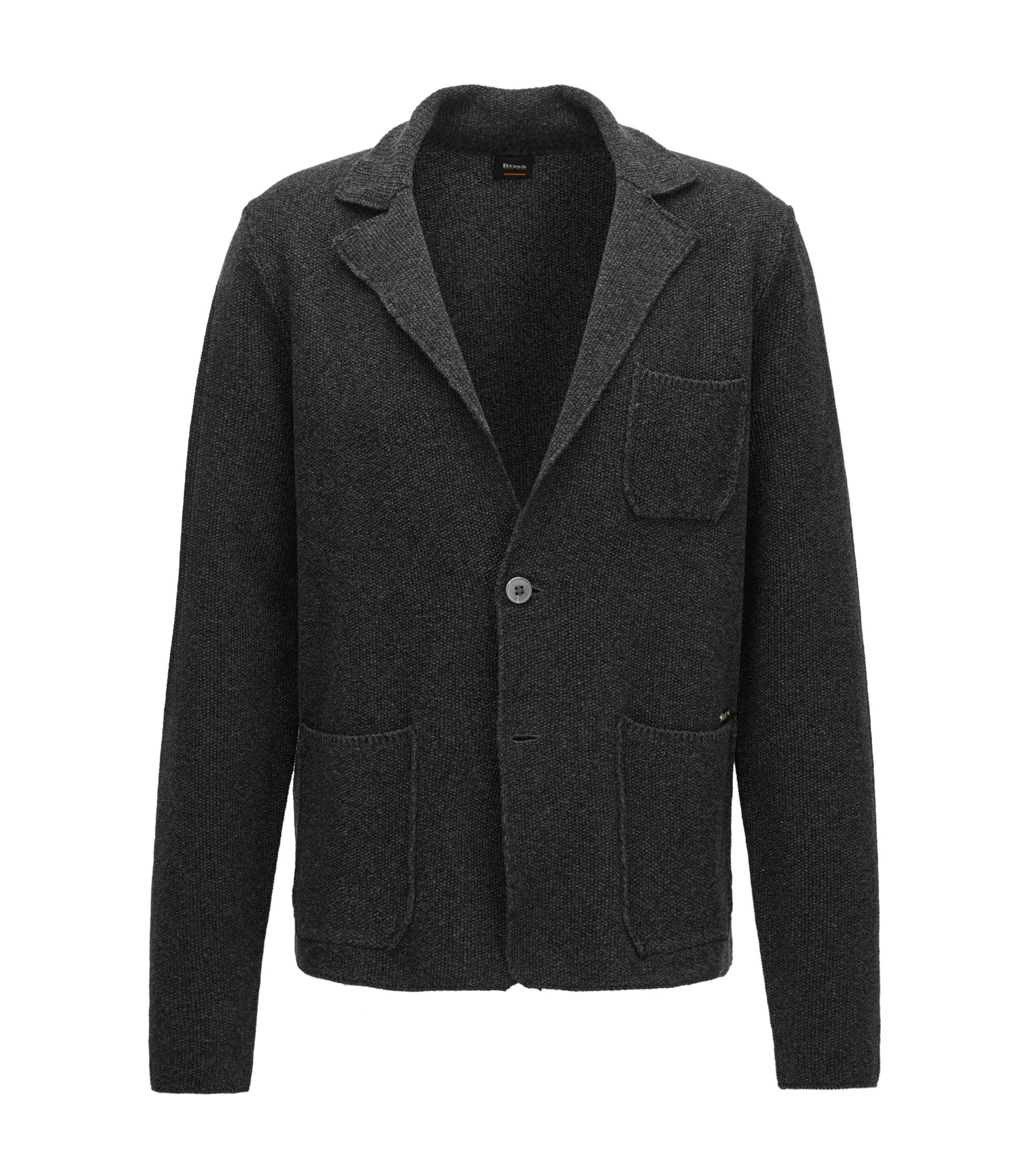 Regular-fit knitted jacket in mercerised cotton, Black