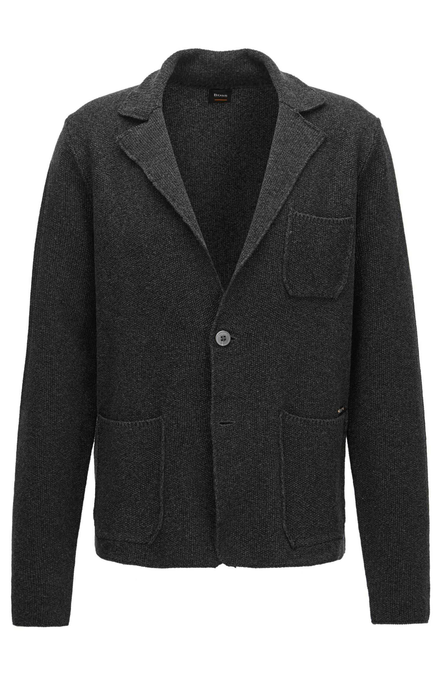 Regular-fit knitted jacket in mercerised cotton