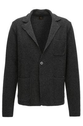 Regular-fit knitted jacket in mercerised cotton, Schwarz