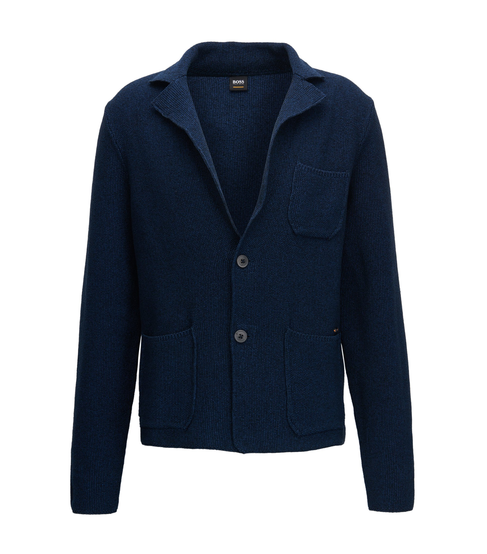 Regular-fit knitted jacket in mercerised cotton, Dark Blue