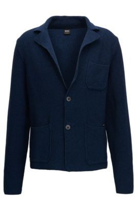 Regular-fit knitted jacket in mercerised cotton, Donkerblauw