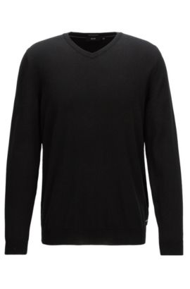 V-neck sweater in fine Italian cotton, Schwarz