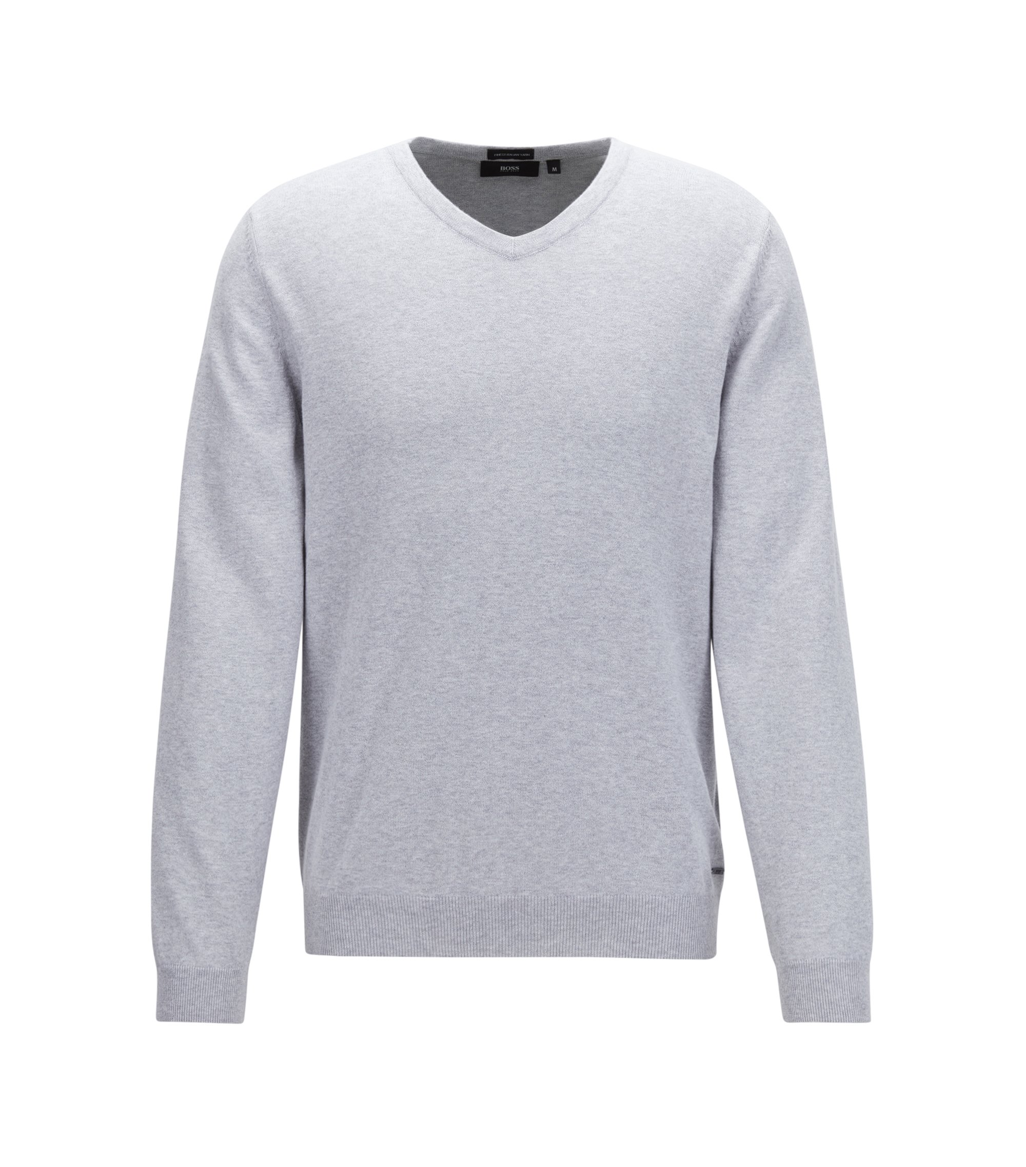 V-neck sweater in fine Italian cotton, Lichtgrijs