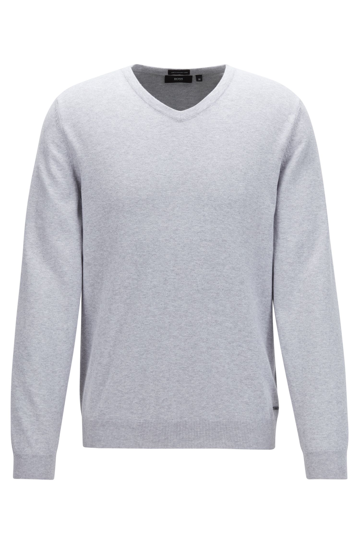 V-neck sweater in fine Italian cotton