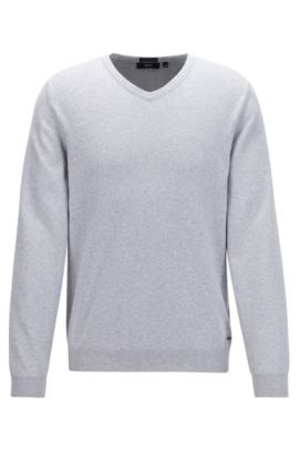 V-neck sweater in fine Italian cotton, Light Grey