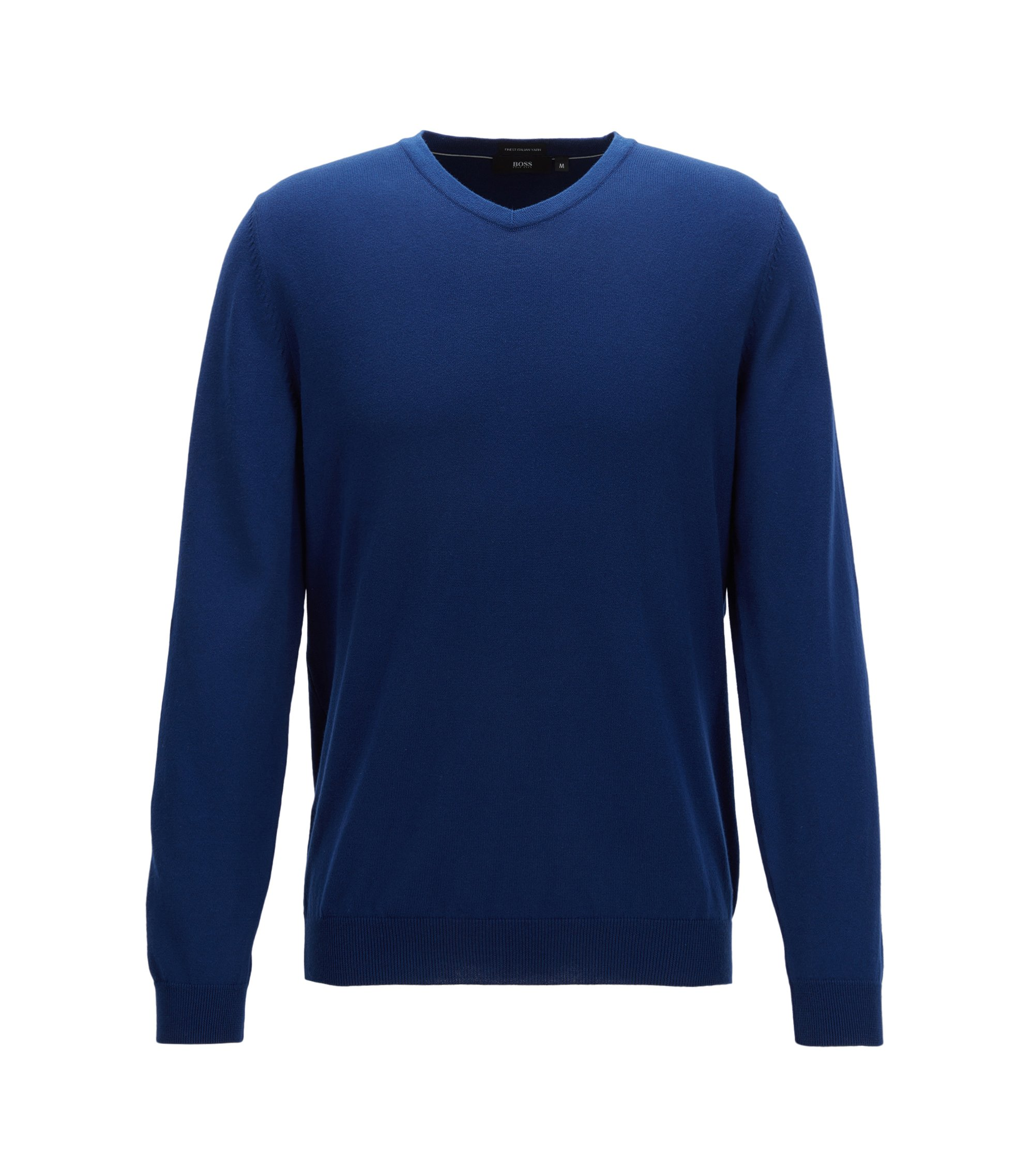 Pull à colV en coton italien fin, Bleu foncé