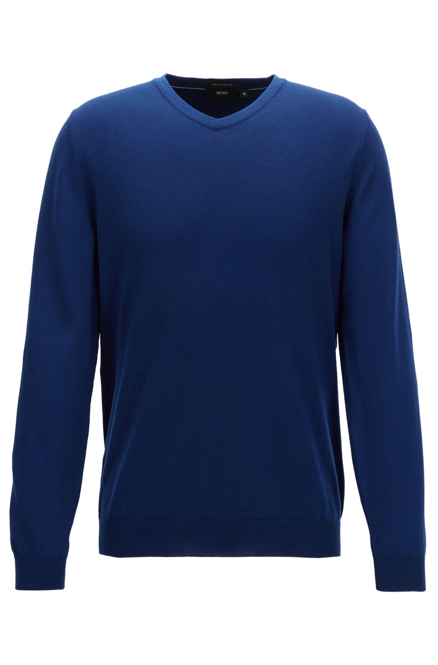 Pullover aus italienischer Baumwolle mit V-Ausschnitt
