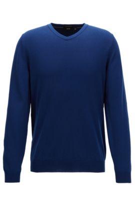 V-neck sweater in fine Italian cotton, Bleu foncé