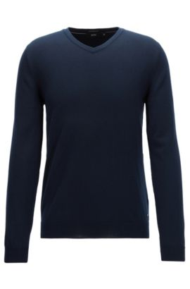 V-neck sweater in fine Italian cotton, Azul oscuro
