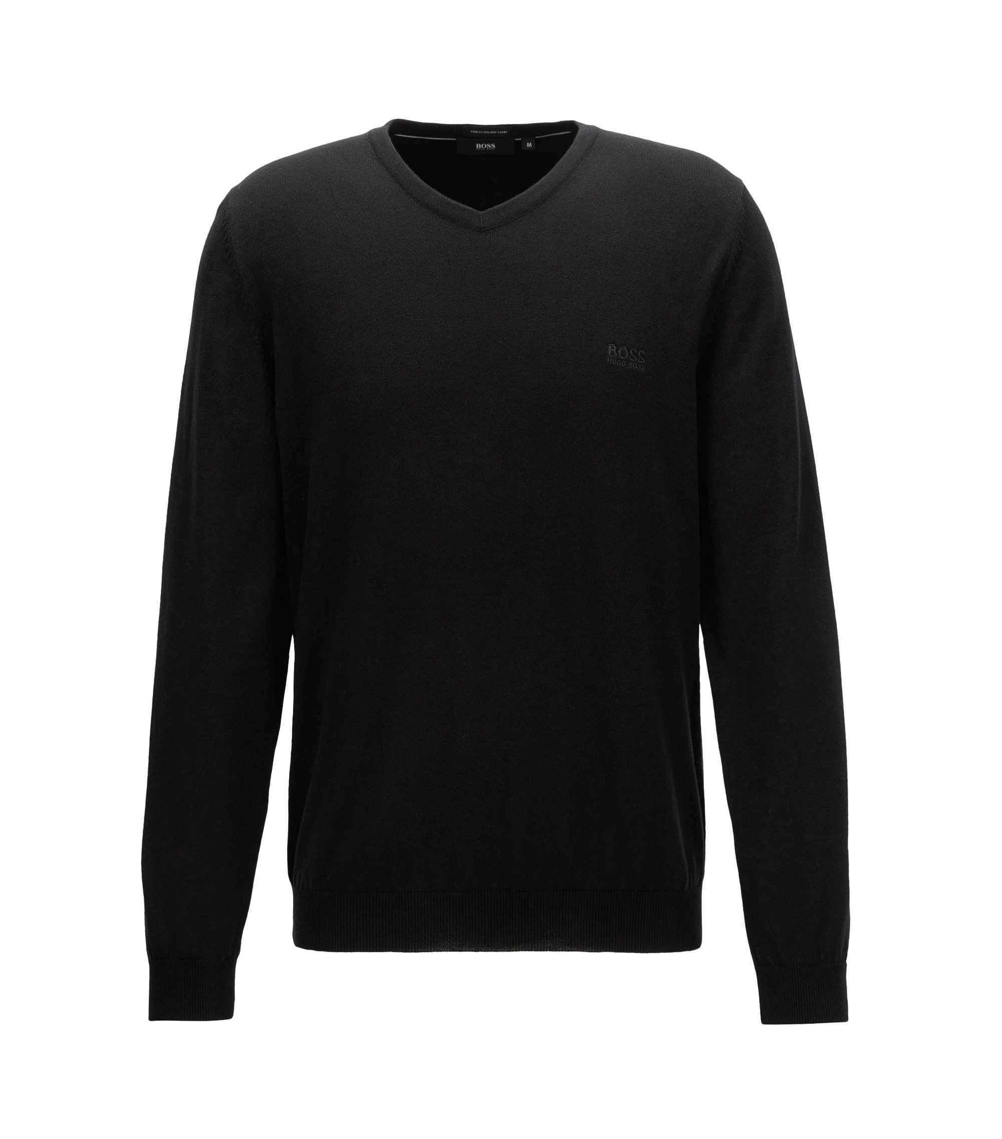 V-neck sweater in Italian cotton, Black