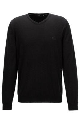 Pullover aus italienischer Baumwolle mit V-Ausschnitt, Schwarz