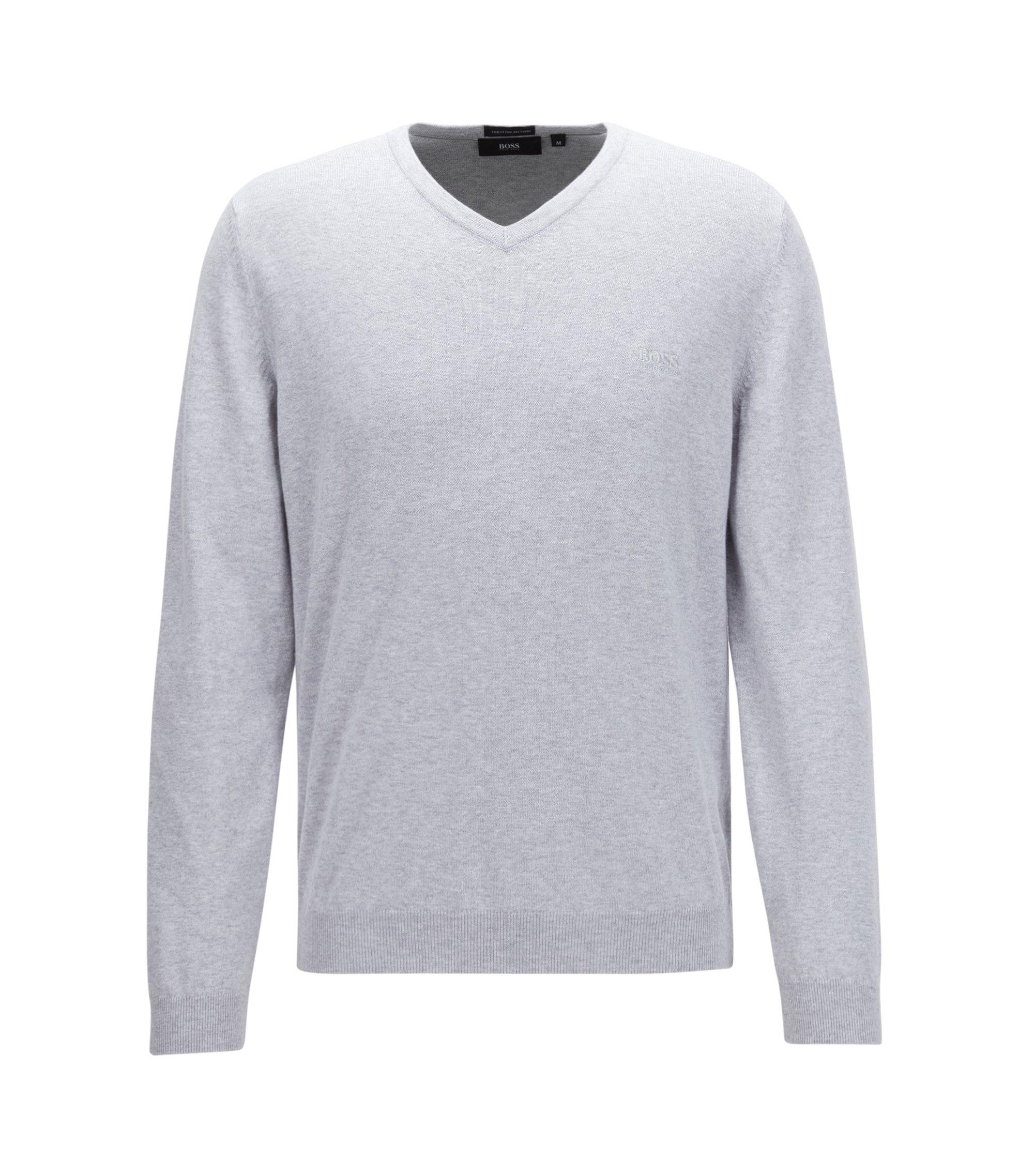 V-neck sweater in Italian cotton, Light Grey