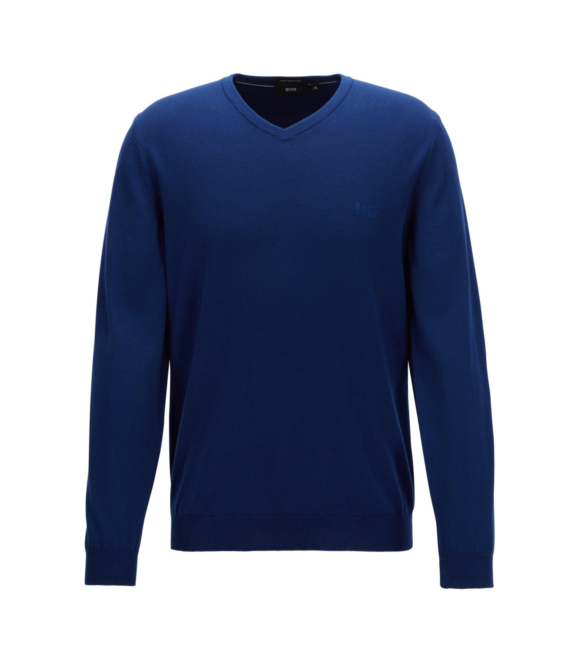 Pull à colV en coton italien, Bleu foncé