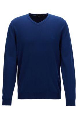 V-neck sweater in Italian cotton, Dark Blue