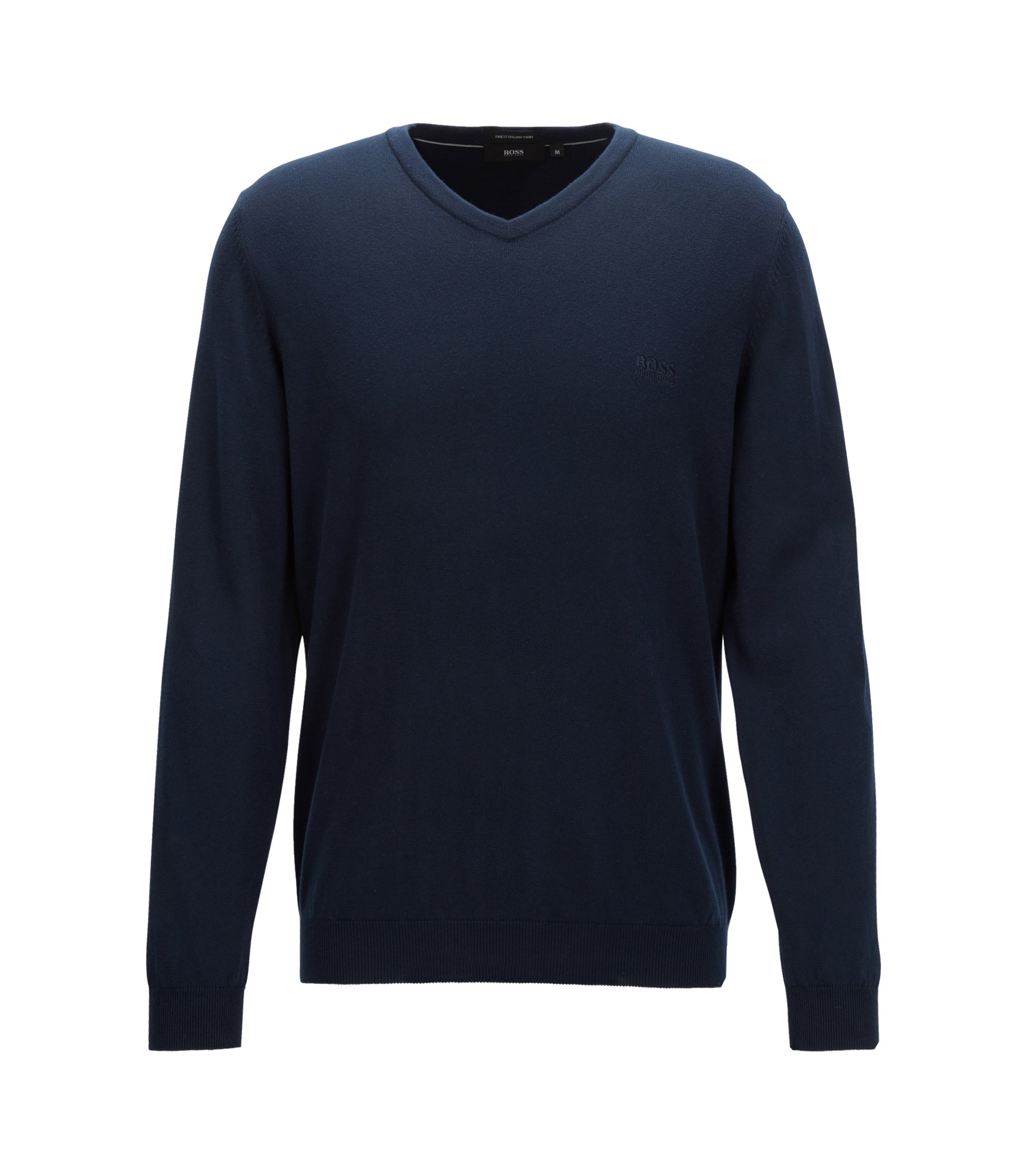 V-neck sweater in Italian cotton, Dark Blue