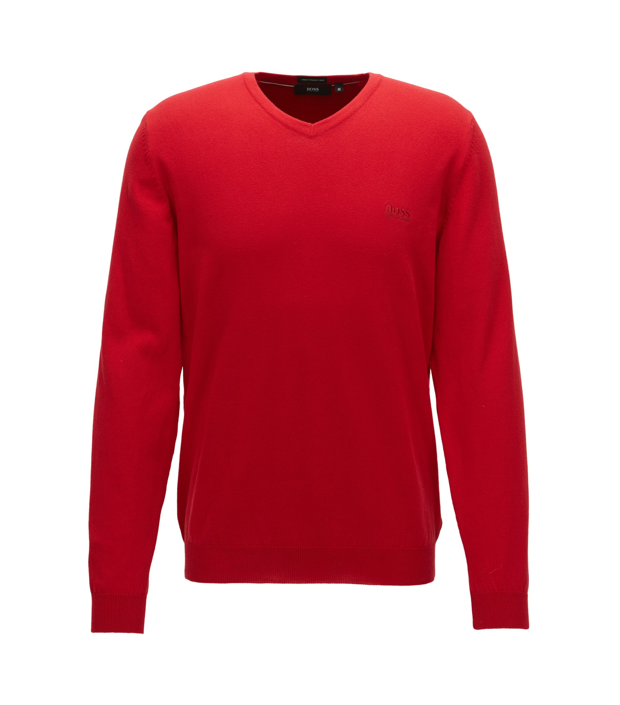 V-neck sweater in Italian cotton, Red