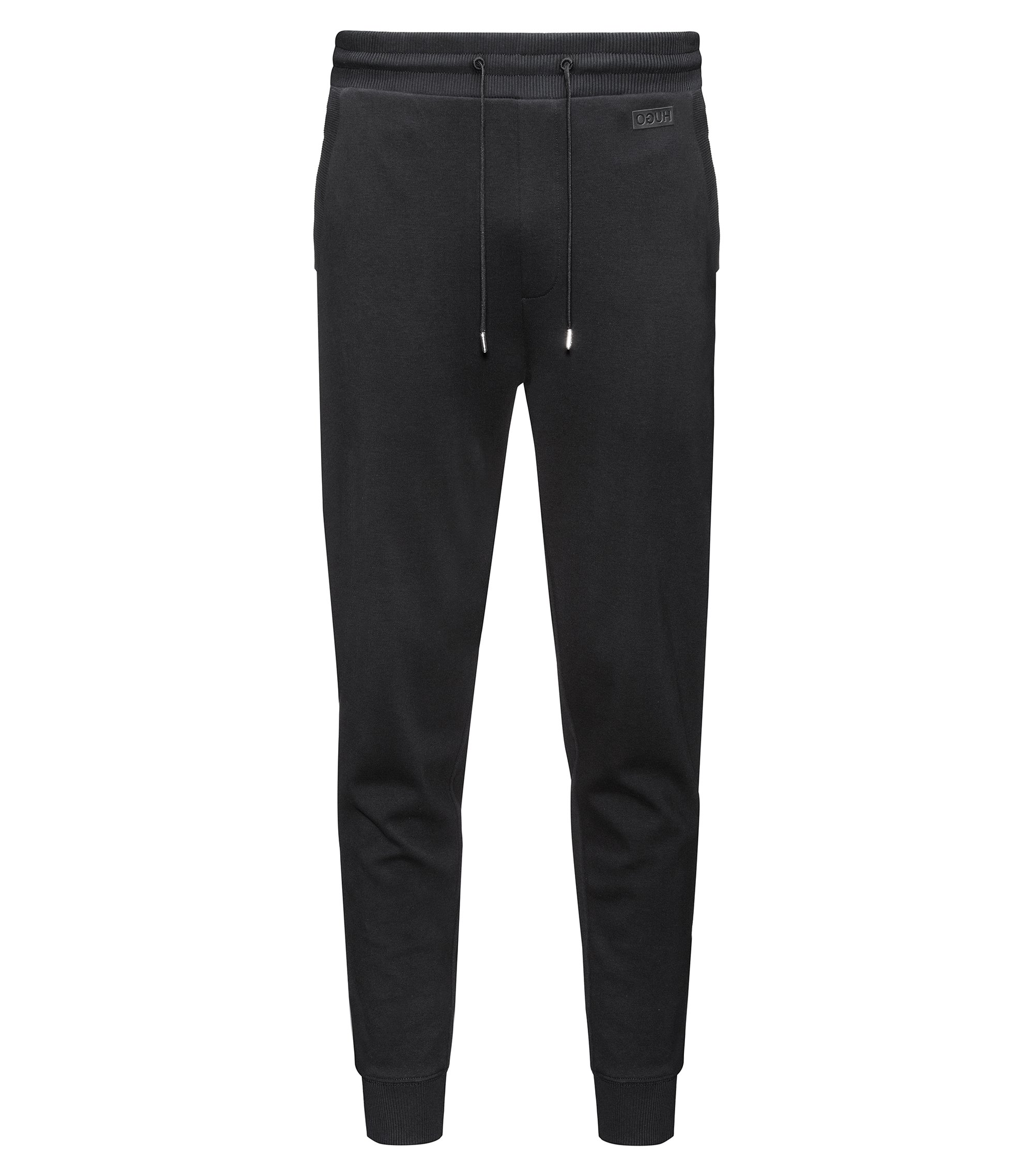 Regular-fit trousers in interlock cotton, Black