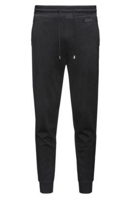 Pantalon Regular Fit en coton interlock, Noir