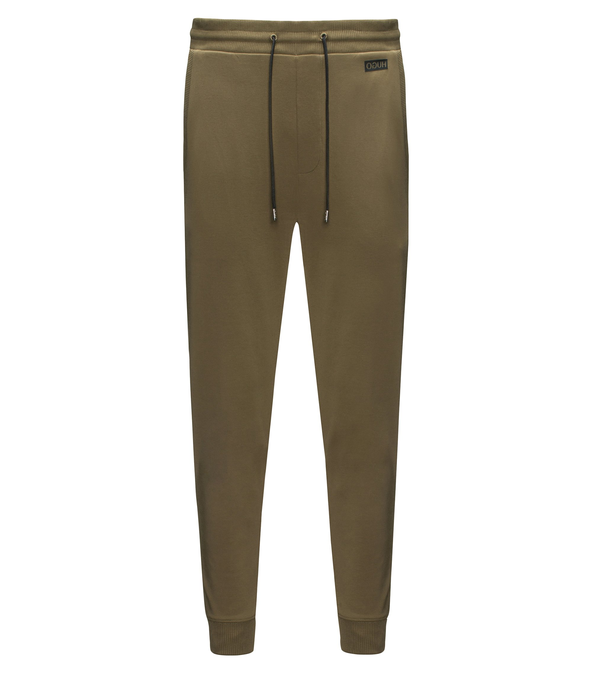 Pantalones regular fit en algodón interlock, Verde oscuro