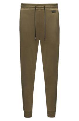 Pantaloni regular fit in cotone intrecciato, Verde scuro