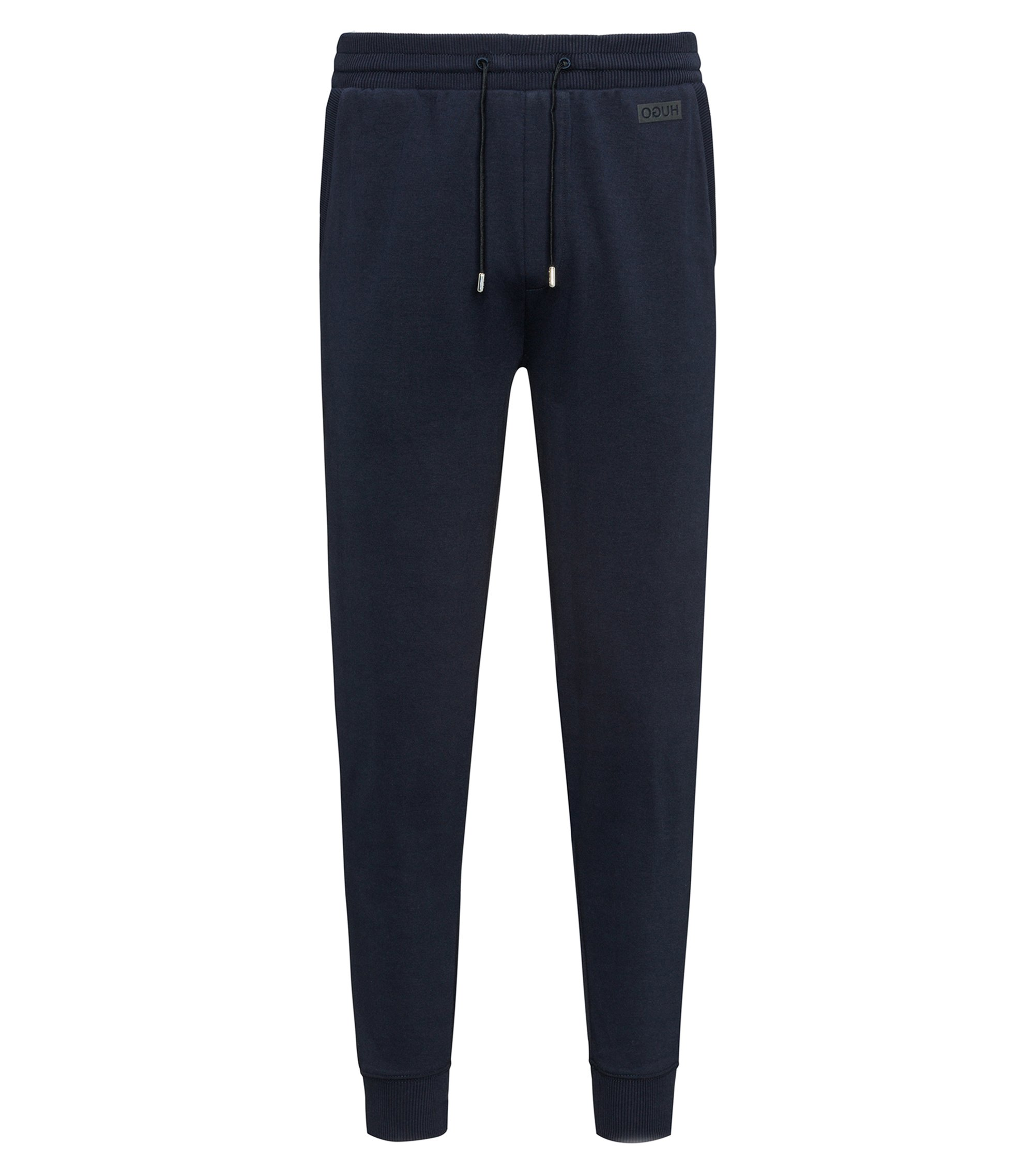 Pantaloni regular fit in cotone intrecciato, Blu scuro