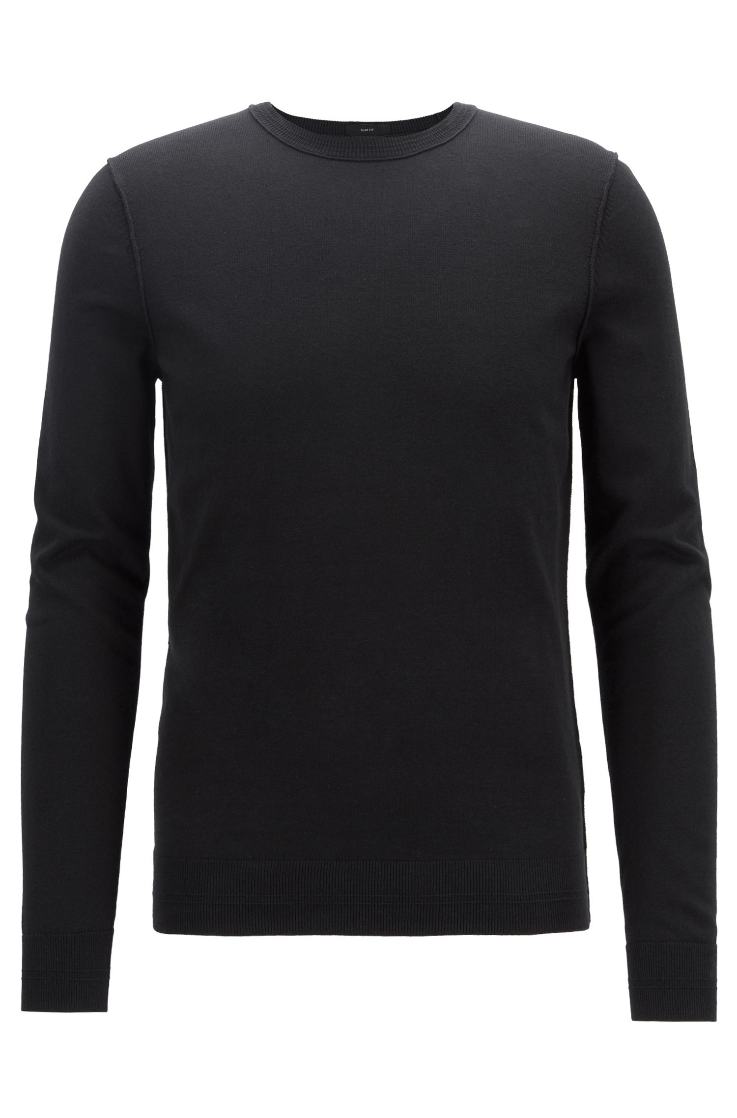 Crew-neck cotton-blend sweater with 3D ribbed accents, Black