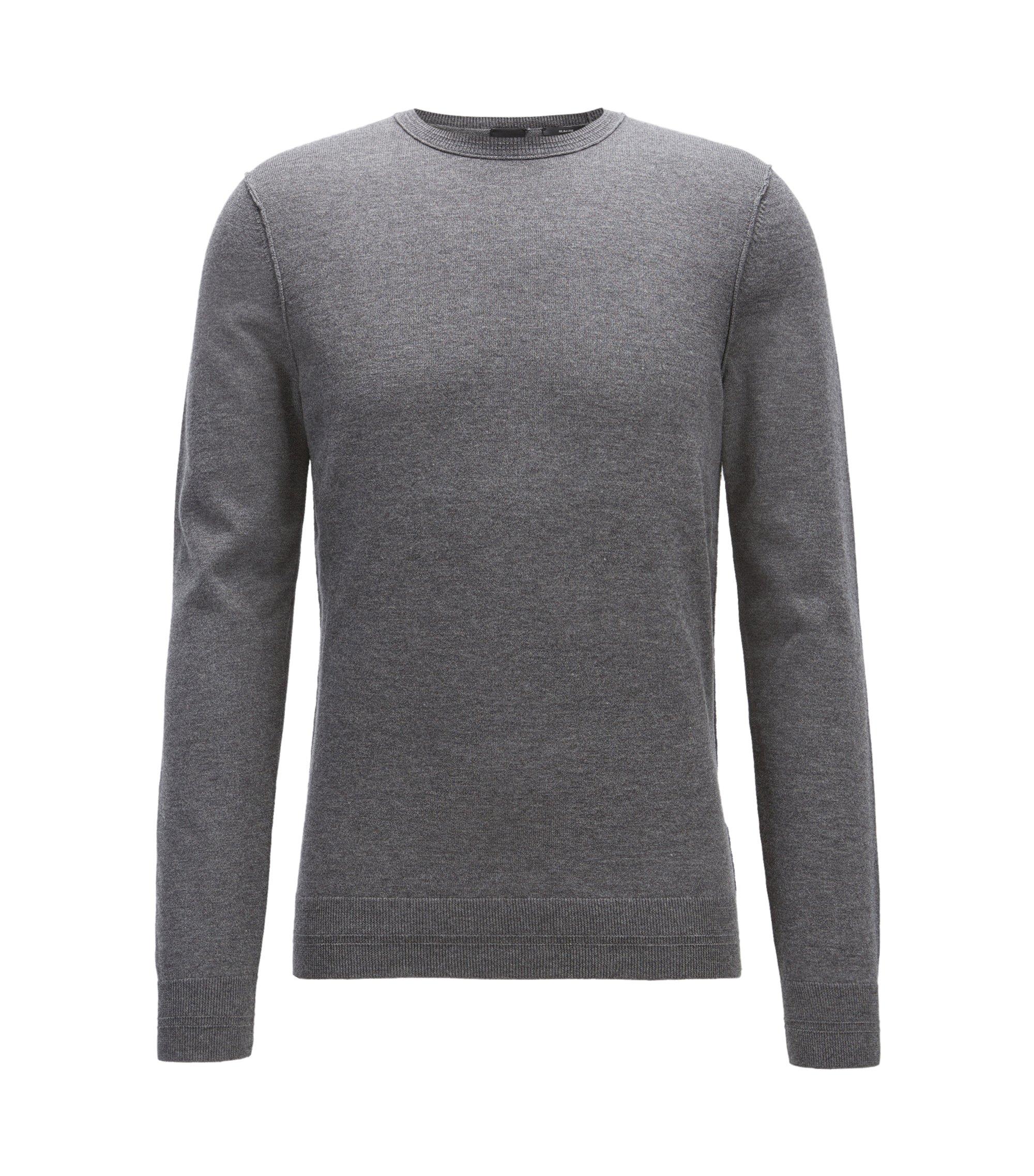 Jersey en mezcla de algodón con cuello redondo y detalles de canalé en 3D, Gris