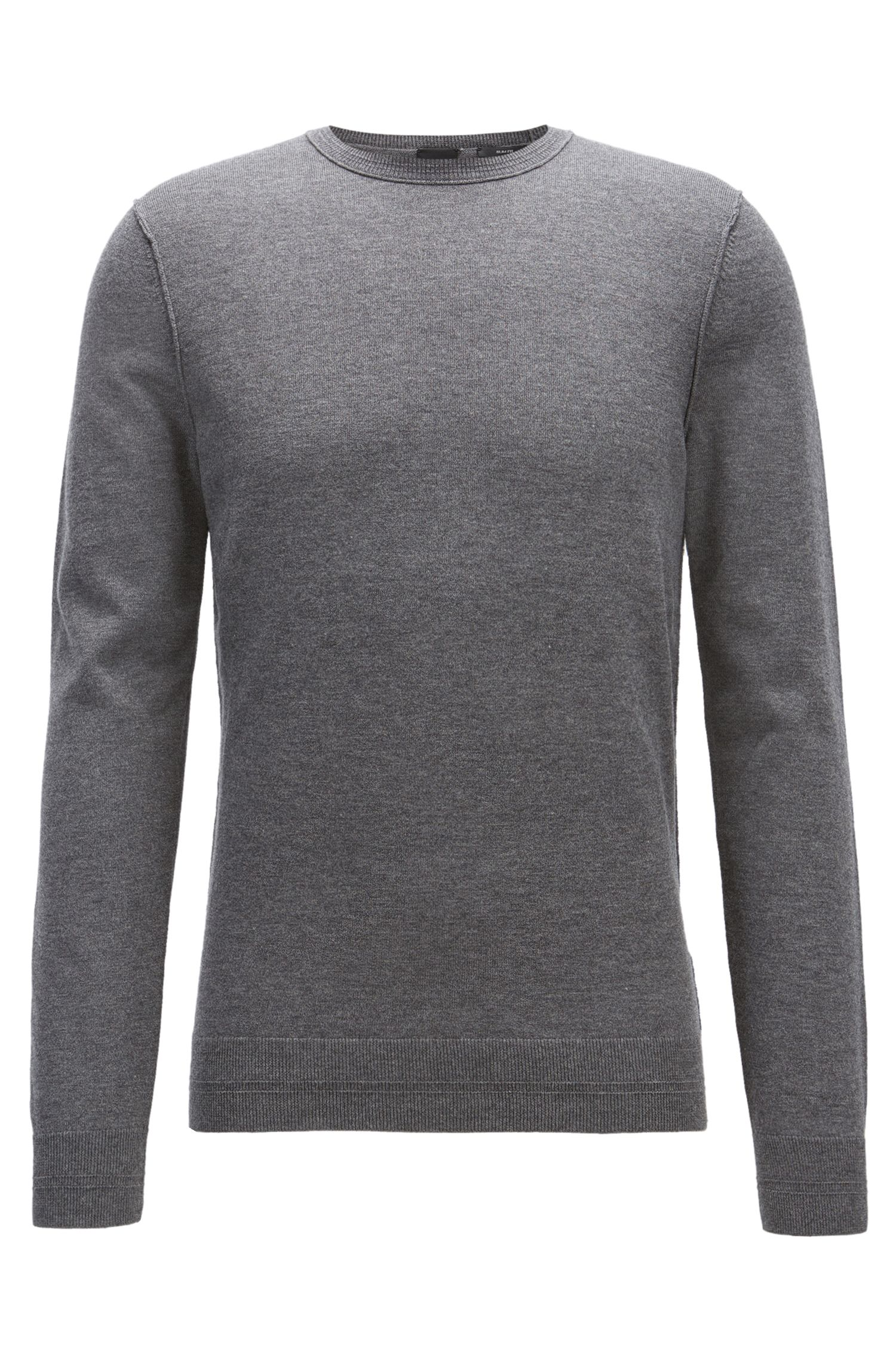 Crew-neck cotton-blend sweater with 3D ribbed accents