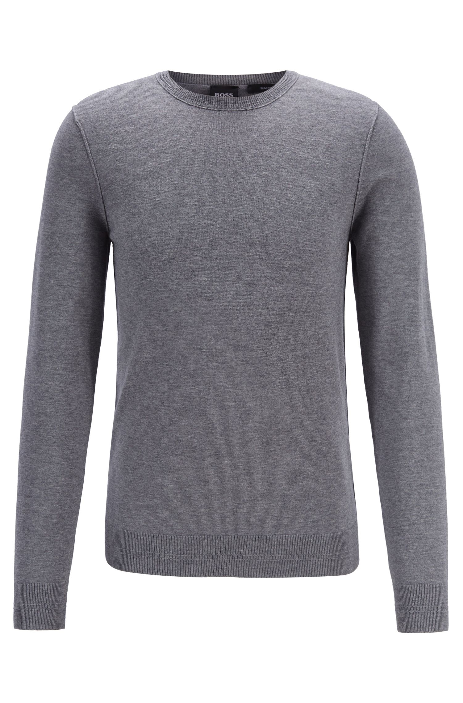 Crew-neck cotton-blend sweater with 3D ribbed accents, Light Grey