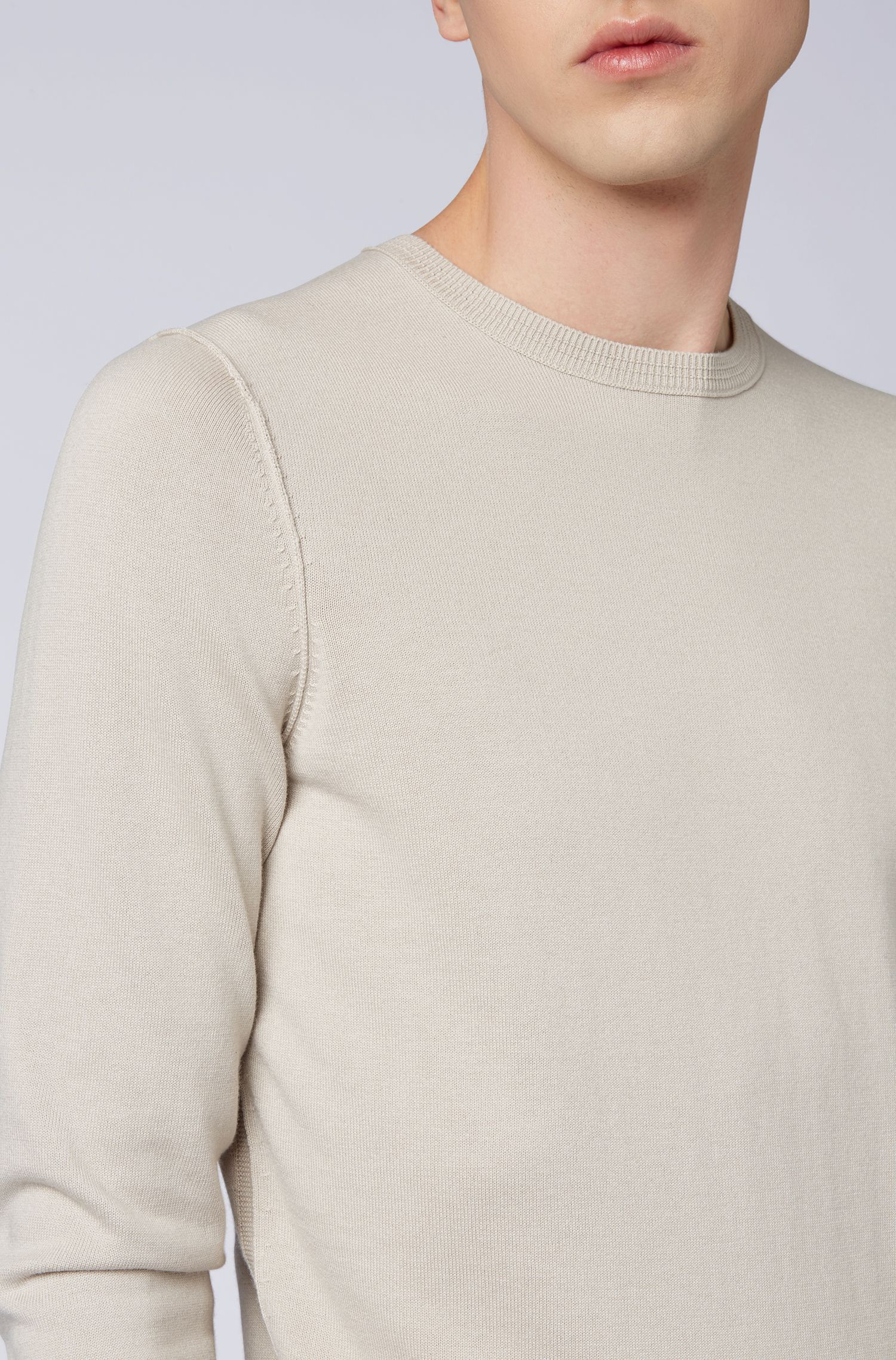 Crew-neck cotton-blend sweater with 3D ribbed accents, Grey