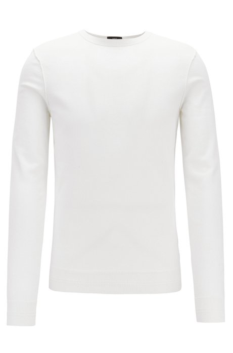 Crew-neck cotton-blend sweater with 3D ribbed accents, White