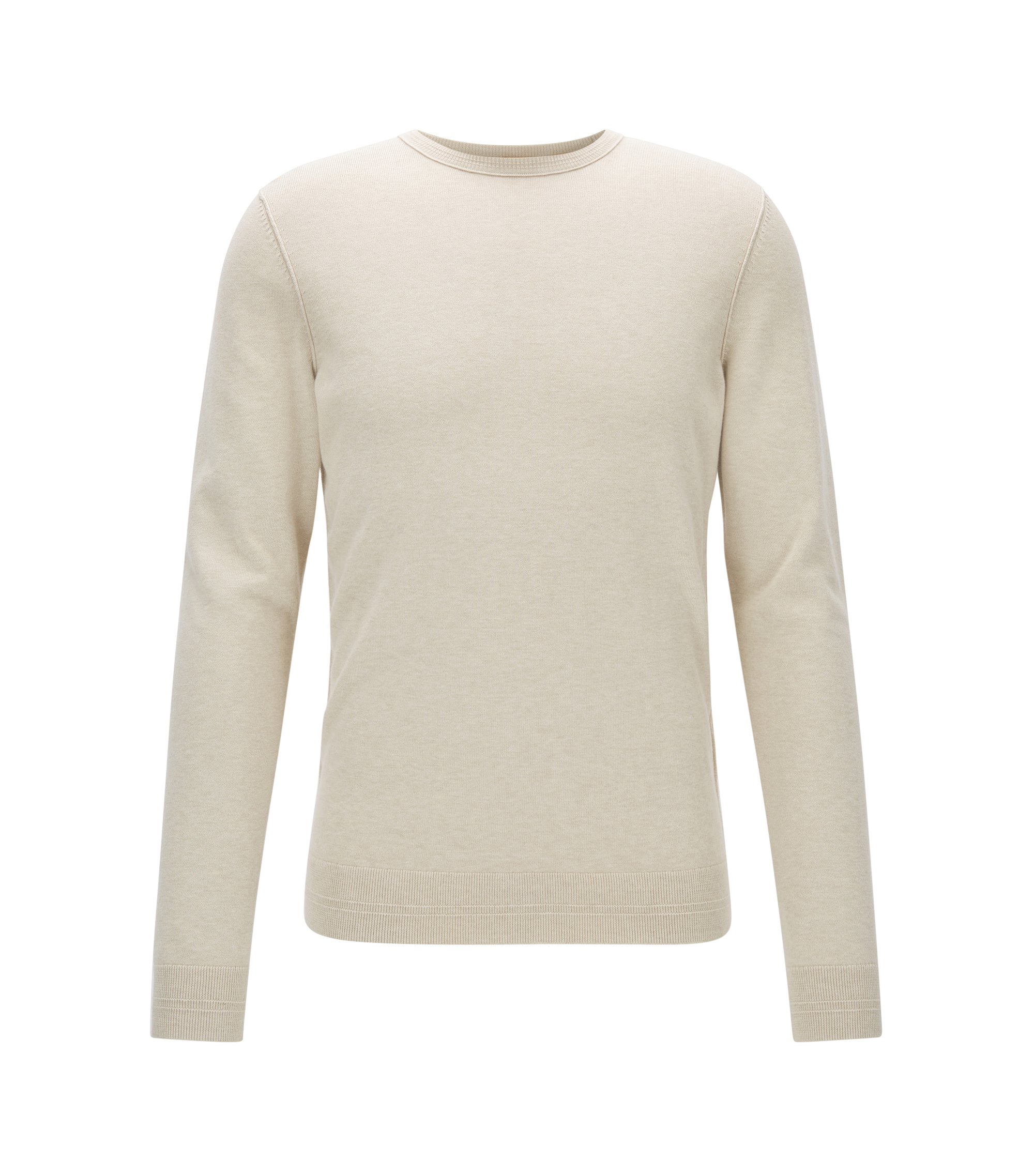 Crew-neck cotton-blend sweater with 3D ribbed accents, Natural