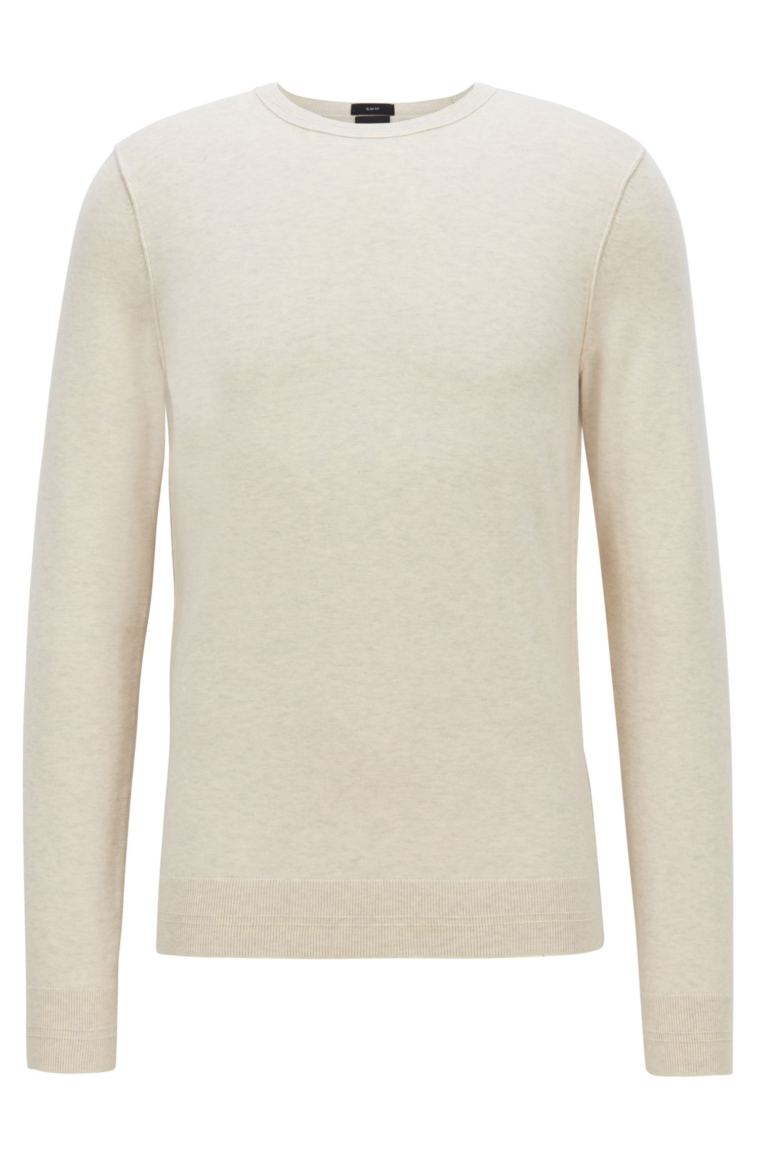 Crew-neck cotton-blend sweater with 3D ribbed accents, Light Beige