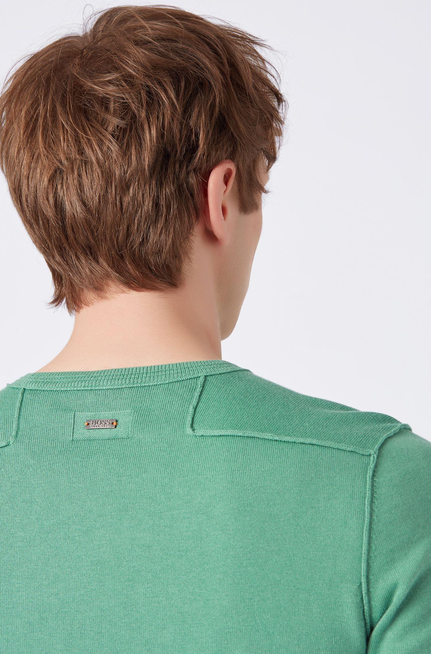 Trui van een katoenmix met ronde hals en geribde 3D-accenten, Groen