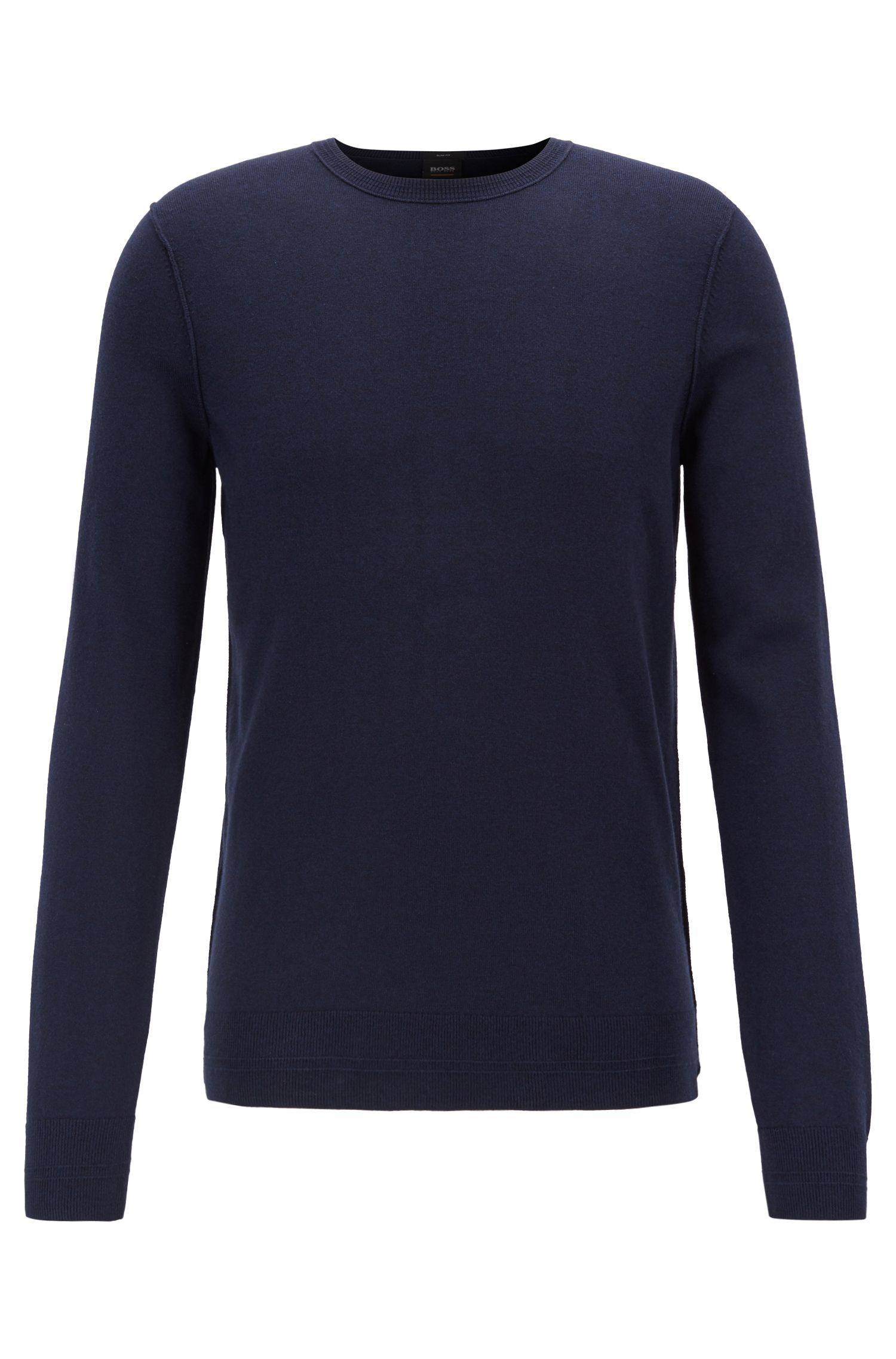 Crew-neck cotton-blend sweater with 3D ribbed accents, Dark Blue